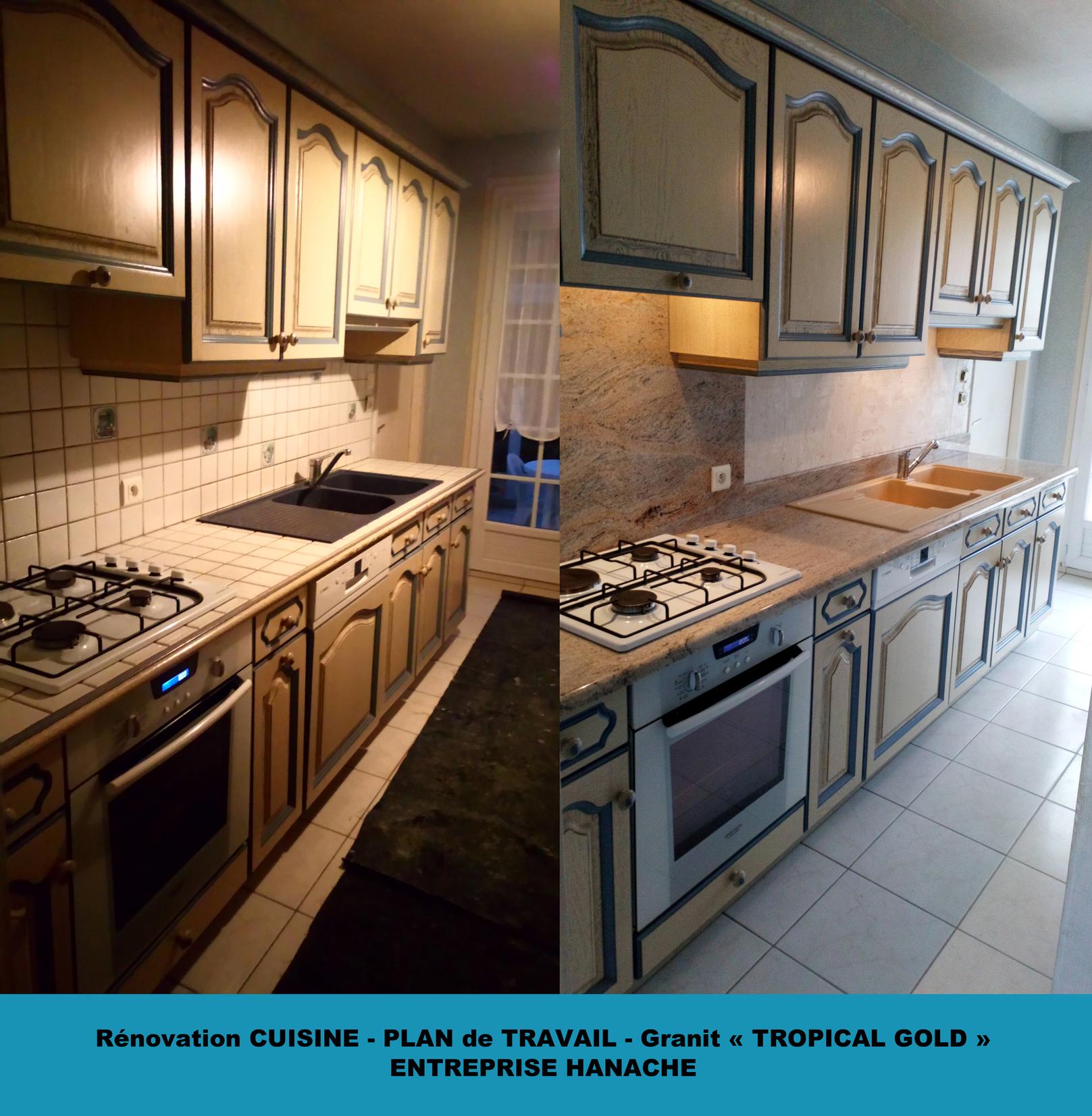 Rénovation cuisine - Plan de travail Granit et Revêtement mural